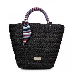 Complementos Gioseppo bolso de fibra negro con pañuelo de rayas - Querol online