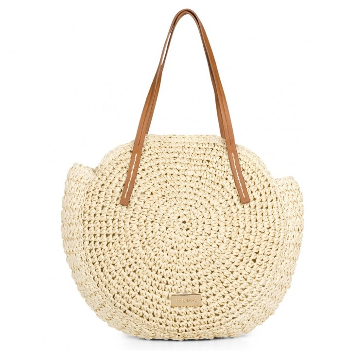 Complementos Gioseppo bolso marrón circular de fibra - Querol online