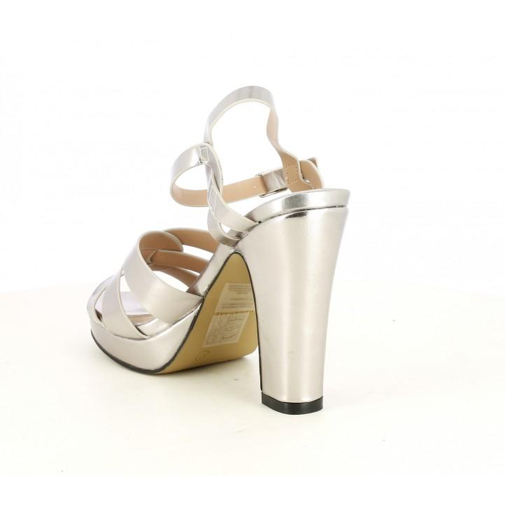 Sandalias tacón Maria Mare plateadas con interior de piel - Querol online