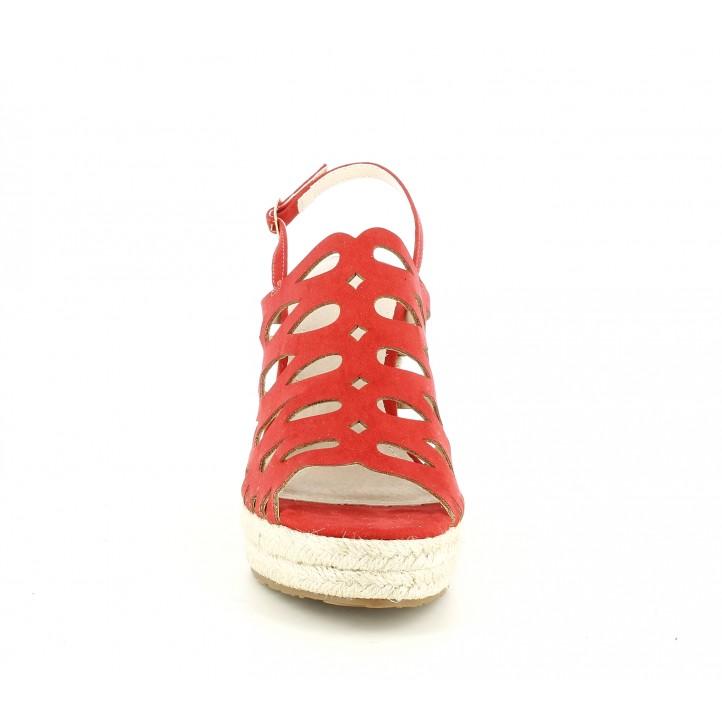 Cuñas Maria Mare rojas con plataforma de esparto - Querol online