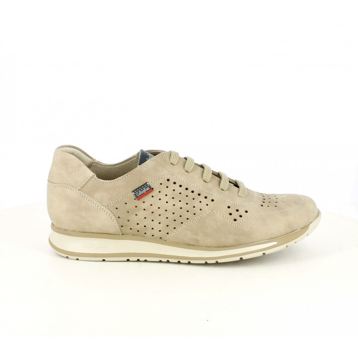 Zapatos sport Callaghan marrones de piel y cordones con orificios - Querol online