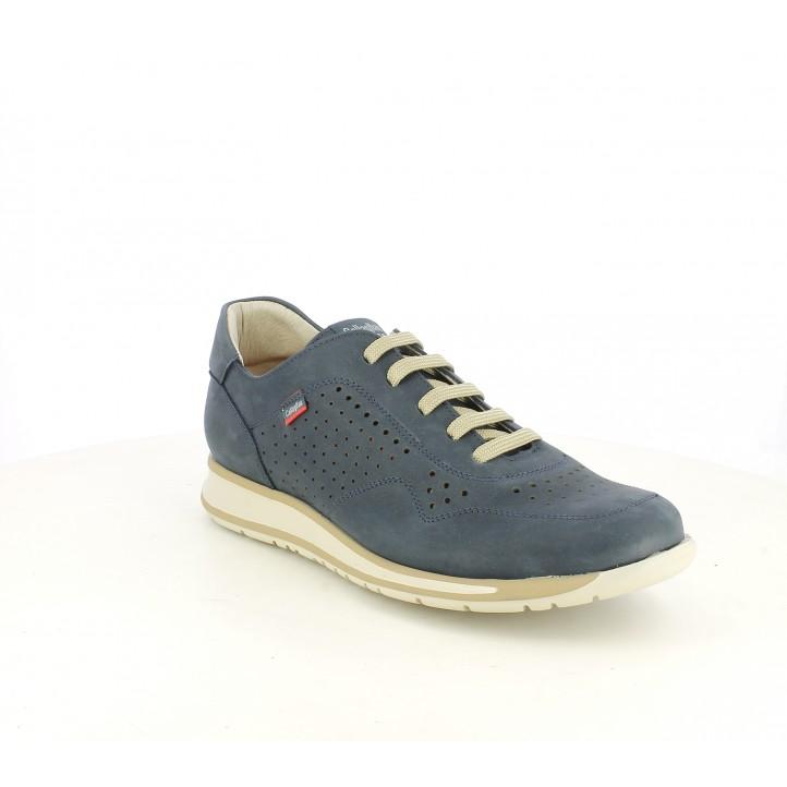 Zapatos sport Callaghan azules de piel y cordones con orificios - Querol online