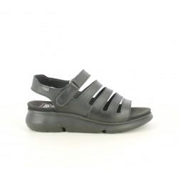 Sandalias planas ONFOOT negras de piel con múltiples tiras y velcro - Querol online