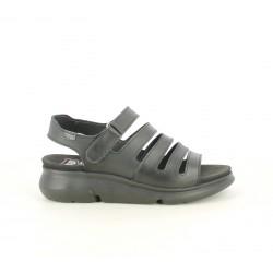 a87d04f85 Sandalias planas ONFOOT negras de piel con múltiples tiras y velcro -  Querol online