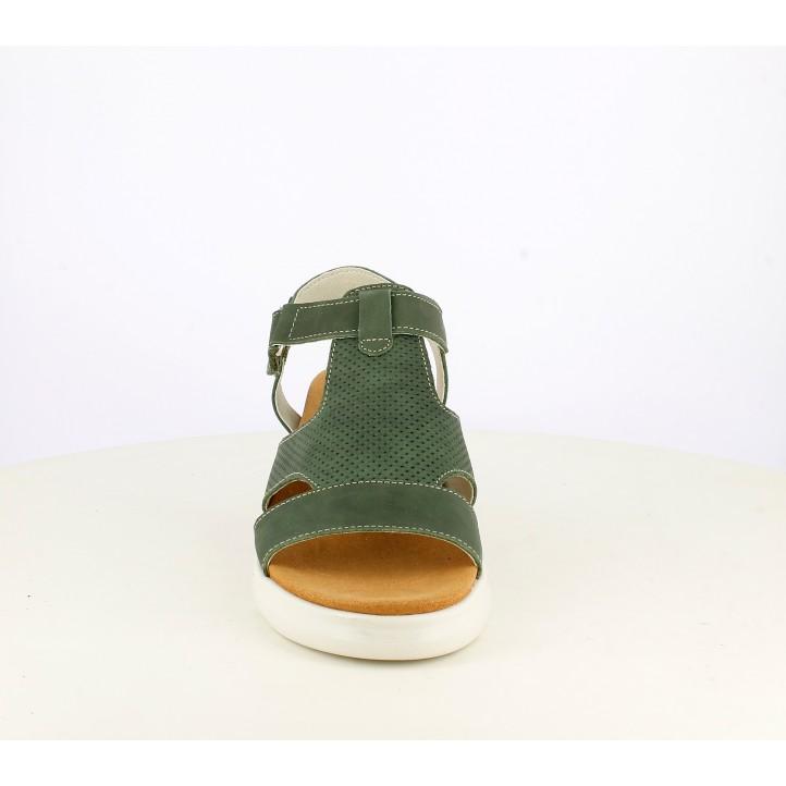 Cuñas ONFOOT verdes de piel con plataforma - Querol online