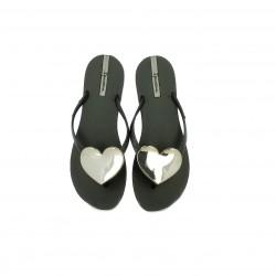 f0e670657 Chanclas Ipanema negras con corazon gris metalizado - Querol online
