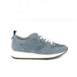 Zapatillas deportivas POP CORN azules con cordones blancos y orificios - Querol online