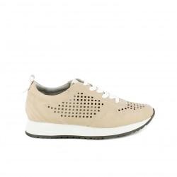 Zapatillas deportivas POP CORN rosas con cordones blancos y orificios - Querol online