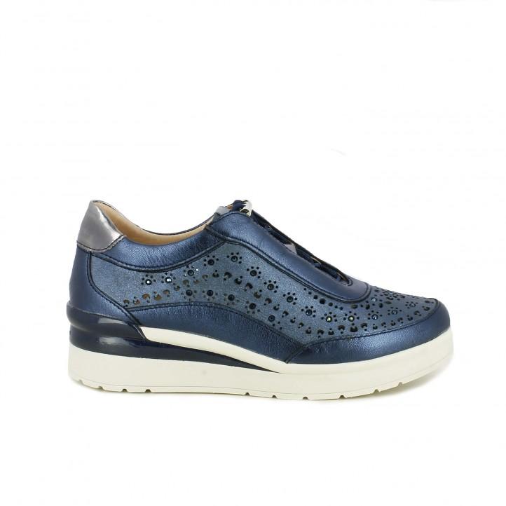 Sabatilles esportives STONEFLY blaves metal·litzades de plataforma amb orificis i cordons elàstics - Querol online