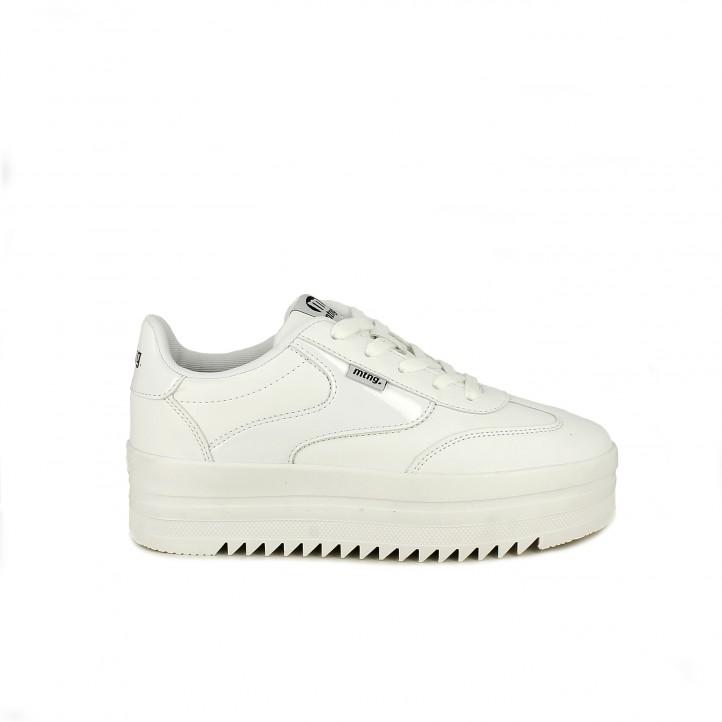 Zapatillas deportivas Mustang blancas de cordones y plataforma - Querol online