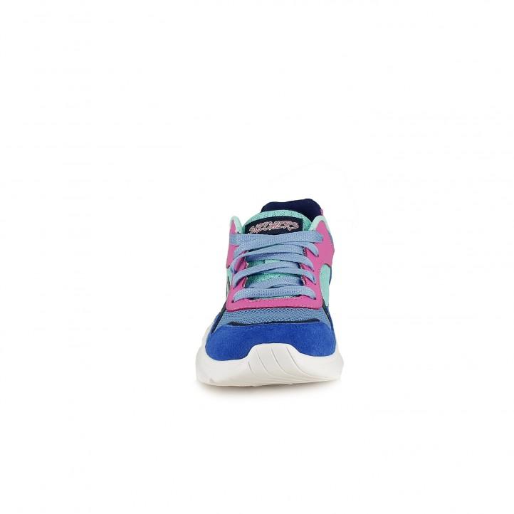 Zapatillas deporte Skechers memory foam azules, verdes y rosas - Querol online