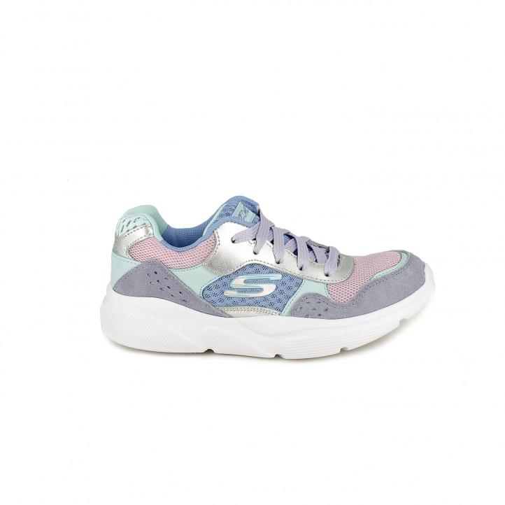 Zapatillas deporte Skechers memory foam lilas, verdes y rosas - Querol online