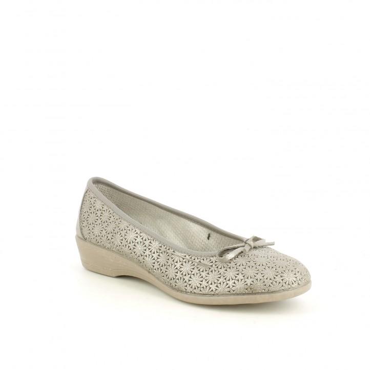 Zapatos tacón Vul·ladi de serraje dorados brillantes - Querol online