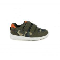 Zapatillas lona Sprox verdes con detalles naranjas - Querol online