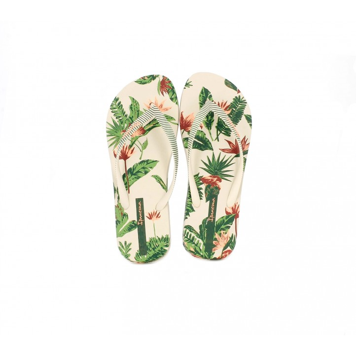 Chanclas Ipanema crema con estampado tropical - Querol online