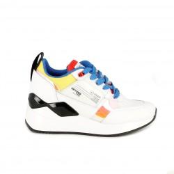 Zapatillas deportivas SixtySeven 67 blancas de piel con cordones azules y detalles multicolor - Querol online