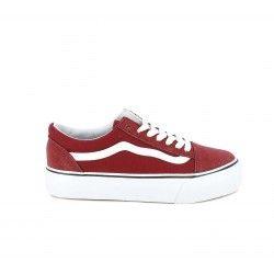 Zapatillas lona Owel rojas y blancas con plataforma y cordones - Querol online