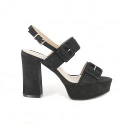 Zapatos tacón Maria Mare negros de antelina con triple hebilla y plantilla de piel - Querol online
