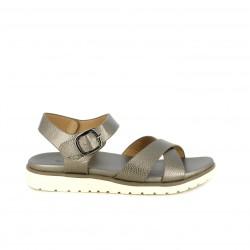 Sandalias planas Xti grises metalizadas con tiras y hebilla - Querol online