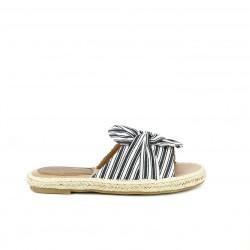 Sandalias planas Redlove abieras de esparto con nudo azul y blanco - Querol online