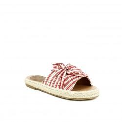 Sandalias planas Redlove abiertas de esparto con nudo rojo y blanco - Querol online
