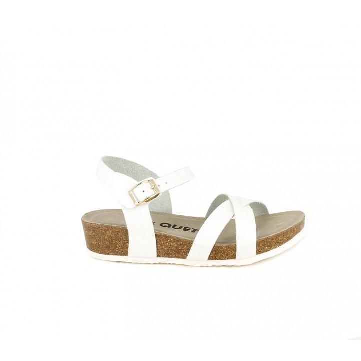 sandalias QUETS! blancas de tiras, hebilla y plataforma - Querol online
