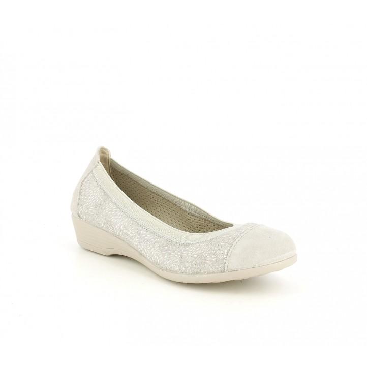 Zapatos planos Vul·ladi grises de piel con detalles plateados - Querol online