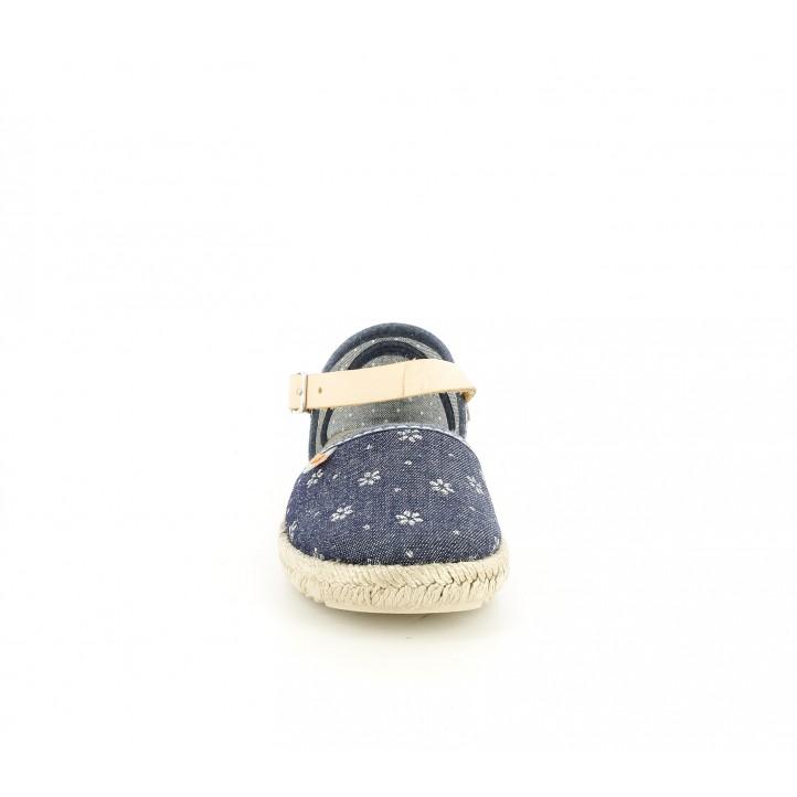 sandalias Vul·ladi cerradas azul tejano y marrón - Querol online