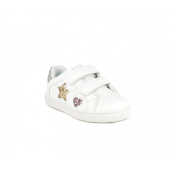 Zapatillas deporte Chika 10 blancas con estrella y corazón de purpurina - Querol online