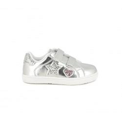 Zapatillas deporte Chika 10 grises con estrella y corazón de purpurina - Querol online