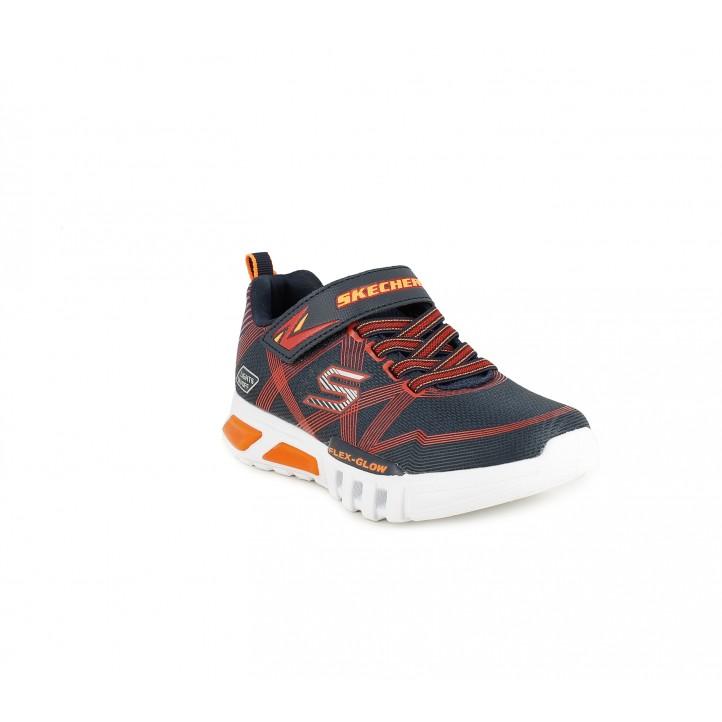Sabatilles esport Skechers blaves, vermelles i taronges amb llums led - Querol online