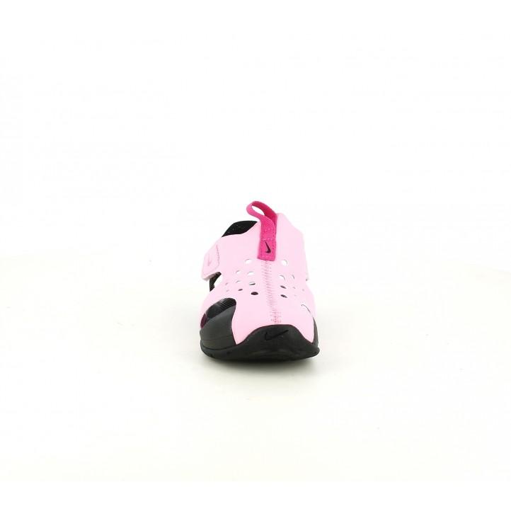 Chanclas Nike rosas y negras con velcros - Querol online