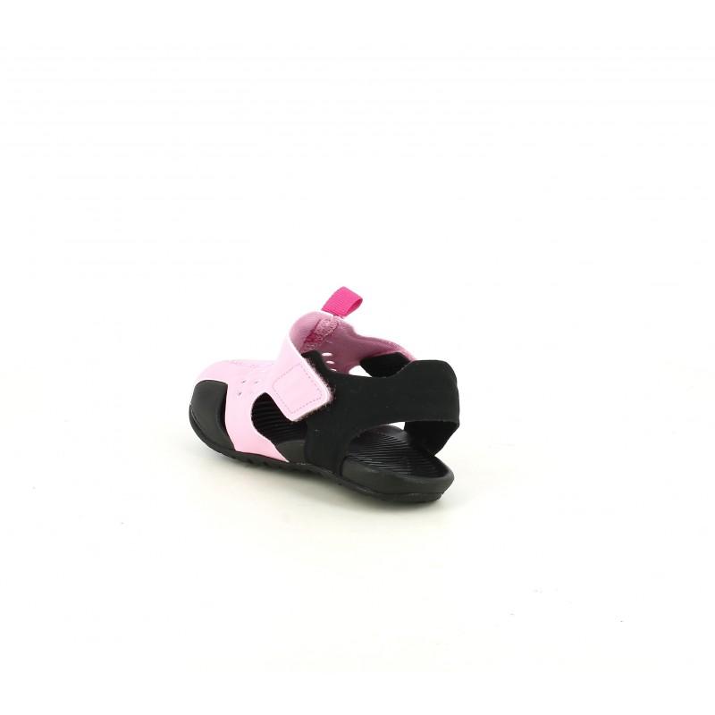 Chanclas rosas y negras con velcros Nike   Querolets