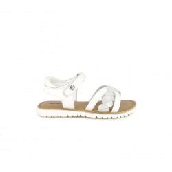 sandalias Kickers blancas de piel con detalle trenzado - Querol online