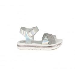 sandalias QUETS! grises metalizadas y blancas con suela de piel - Querol online