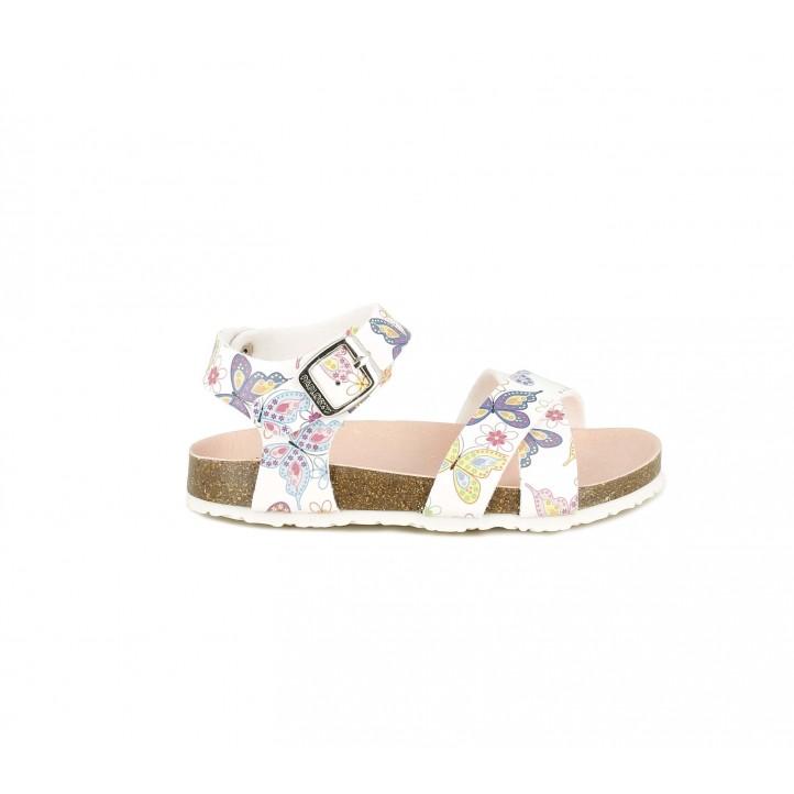 sandalias Pablosky blancas con estampado de mariposas - Querol online