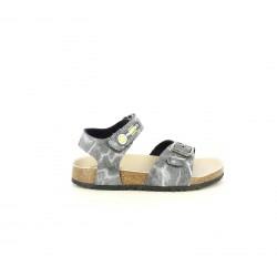 sandalias Pablosky grises y blancas con hebilla y velcro - Querol online