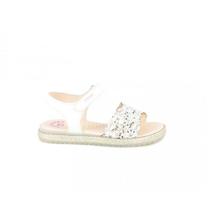 sandalias Pablosky blancas de piel con tiras trenzadas - Querol online
