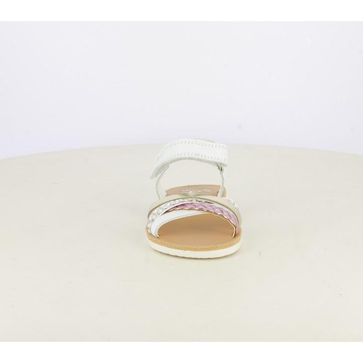 sandalias Pablosky de piel blancas, doradas y rosas - Querol online