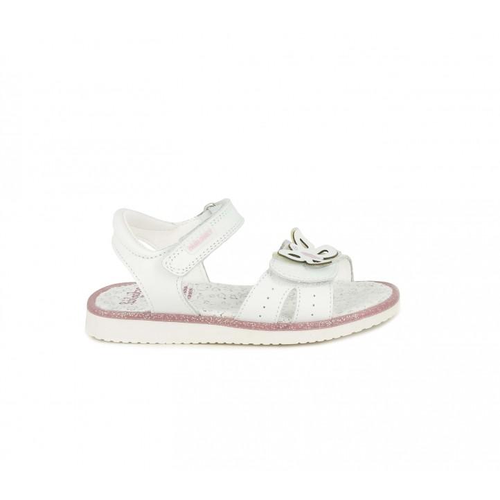 sandalias Pablosky de piel blancas con mariposa - Querol online