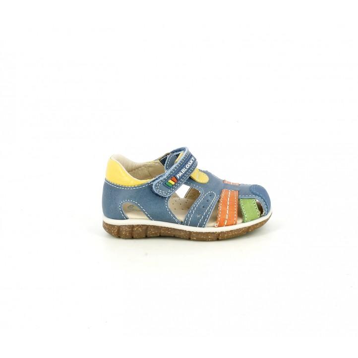 sandalias Pablosky azules, amarillas, naranjas y verdes de piel - Querol online