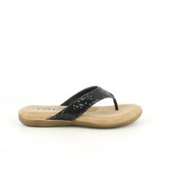 Sandalias planas You Too de dedo marrones y negras con lentejuelas - Querol online
