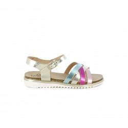 sandalias Yokono de piel con tiras multicolor metalizadas - Querol online