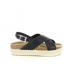Sandalias planas Owel negras con doble tira, hebilla y plataforma de esparto - Querol online