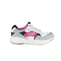 Zapatillas deportivas Skechers con memory foam blancas, rosas, verdes y negras - Querol online