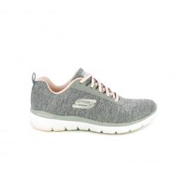 Zapatillas deportivas Skechers grises y rosas con memory foam - Querol online
