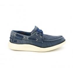 Zapatos sport Skechers mocasines azules tejano con memory foam
