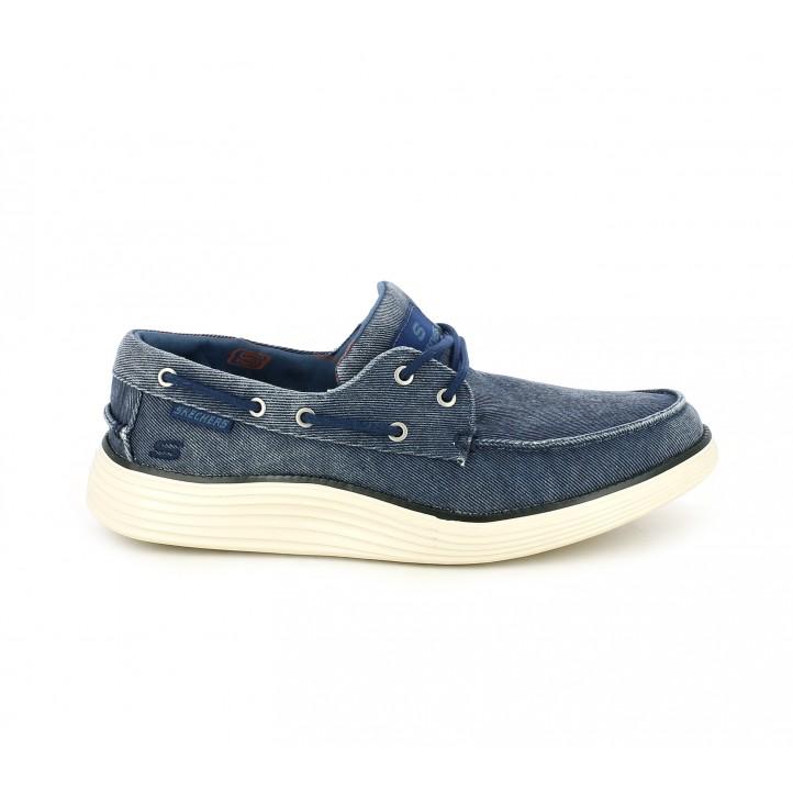 Zapatos sport Skechers mocasines azules tejano con memory foam - Querol online