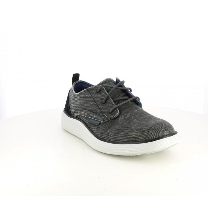Zapatos sport Skechers memory foam grises y negras con cordones - Querol online