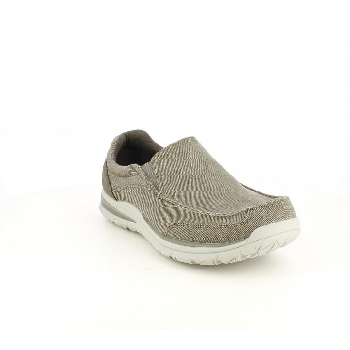 Zapatos sport Skechers mocasines grises con memory foam - Querol online